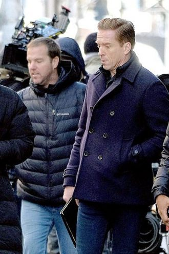 Billions S04 Damian Lewis Double Breasted Peacoat