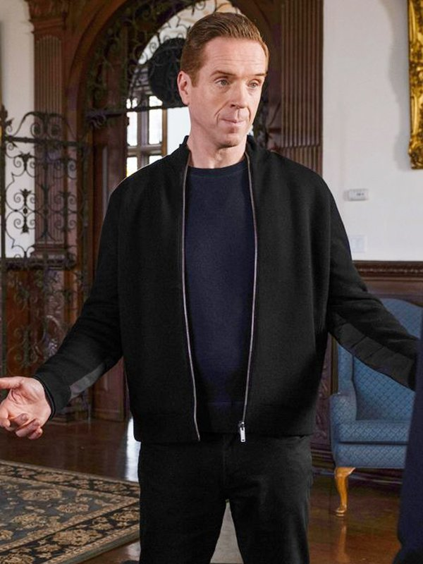 Billions S05 Damian Lewis Black Wool Bomber Jacket