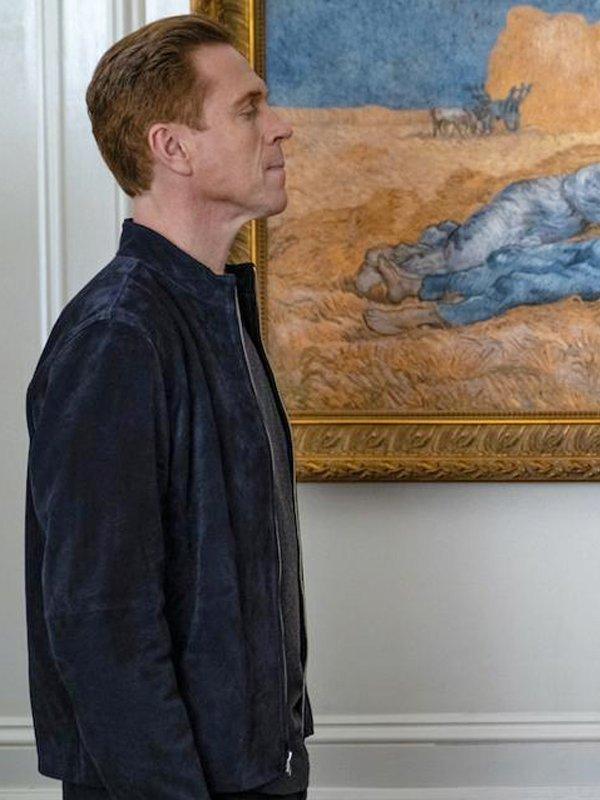 Billions S05 Damian Lewis Dark Blue Leather Jacket