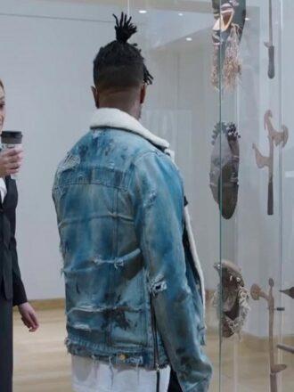 Black Panther Michael B. Jordan Blue Shearling Denim Jacket