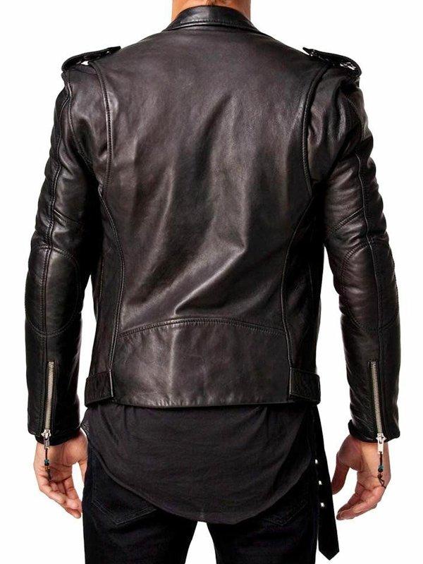 Black Slim Fit Biker Leather Jacket For Men's