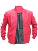 Bomber Style 8 Ball Pink Leather Jacket