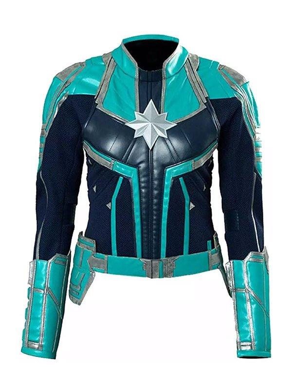 Brie Larson Captain Marvel Carol Danvers Starforce Leather Jacket