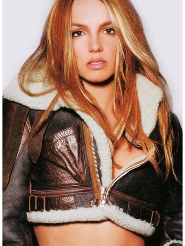 Britney Spears Brown Shearling Cropped Leather Jacket