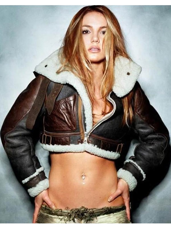 Britney Spears Cropped Leather Jacket