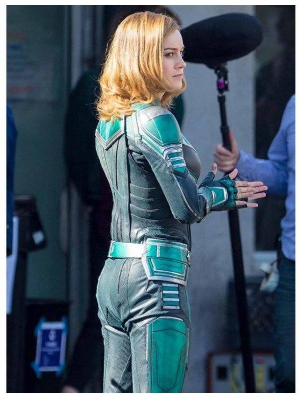 Captain Marvel Brie Larsons Costume Leather Jacket