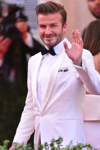 David Beckham Ivory Tuxedo Suit