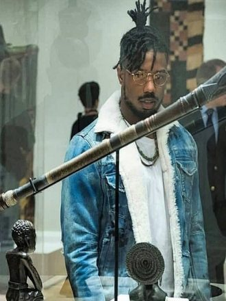Erik Killmonger Black Panther Shearling Denim Jacket