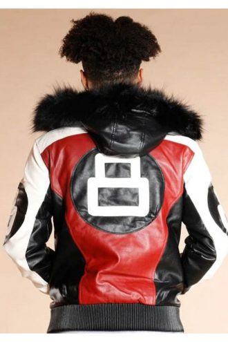 Fur HoodFur Hooded 8 Ball Logo Bomber Style Leather Jacketed 8 Ball Logo Bomber Style Leather Jacket