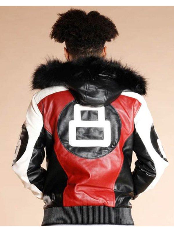 Fur HoodFur Hooded 8 Ball Logo Bomber Style Leather Jacketed 8 Ball Logo Bomber Style Leather Jacket