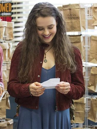 Katherine Langford 13 Reasons Why Maroon Suede Leather Jacket