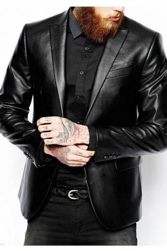 Men's Slim Fit Lambskin Leather Coat