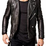 Men's Slim Fit Motorcycle Leather Jacket