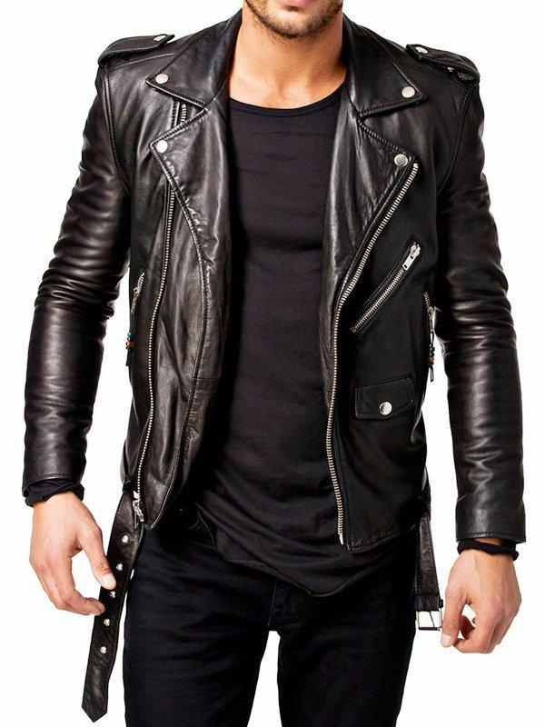 Men's Slim Fit Motorcycle Leather Jacket