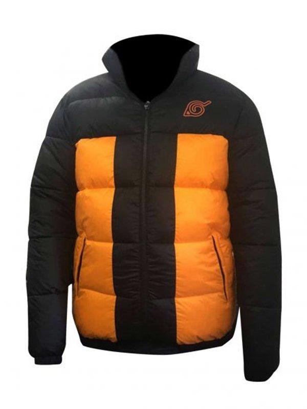 Naruto Shippuden Uzumaki Naruto Orange & Black Puffer Jacket