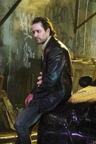Taylor Kitsch 21 Bridges Ray Leather Black Jacket