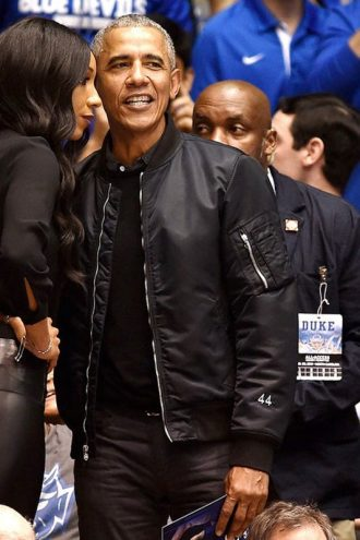 US President Barack Obama Black Bomber Jacket
