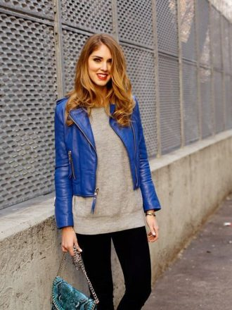 Women's Slim Fit Blue Biker Leather Jacket