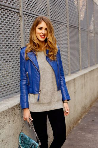 Women's Slim Fit Blue Biker Leather Jacket