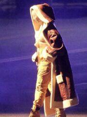Alicia Keys MTV Music Awards Brown Leather Coat