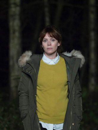 Anna Friel Marcella Backland Green Fur Coat