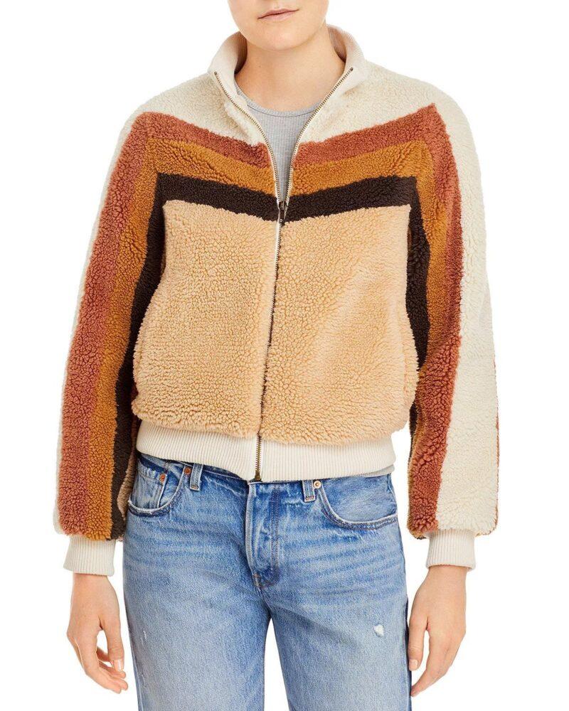 Annaleigh Ashford Fur Brown Striped Jacket