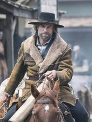 Anson Mount Hell on Wheels Shearling Brown Distressed Leather Coat