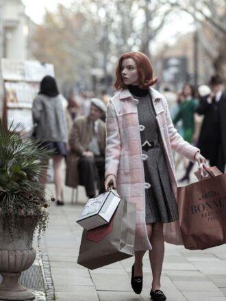 Anya Taylor-Joy The Queen's Gambit Pink Coat