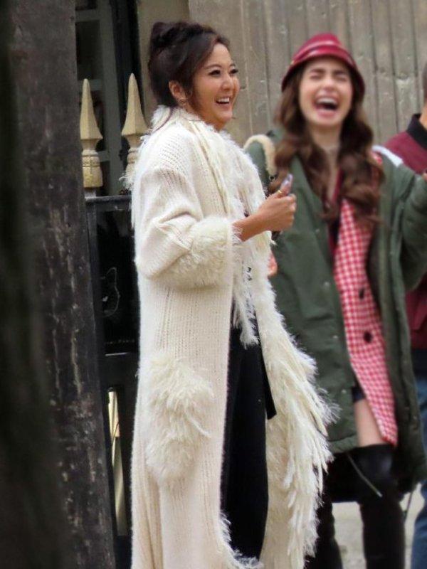 Ashley Park Emily In Paris Fur Coat