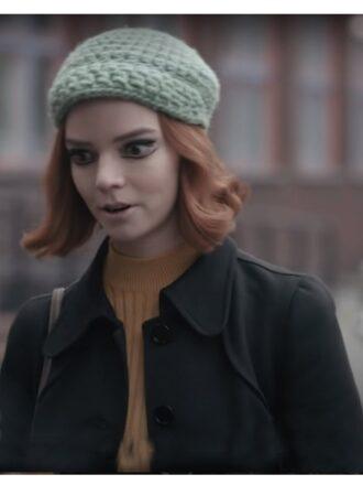 Beth Harmon The Queen's Gambit Black Wool Coat