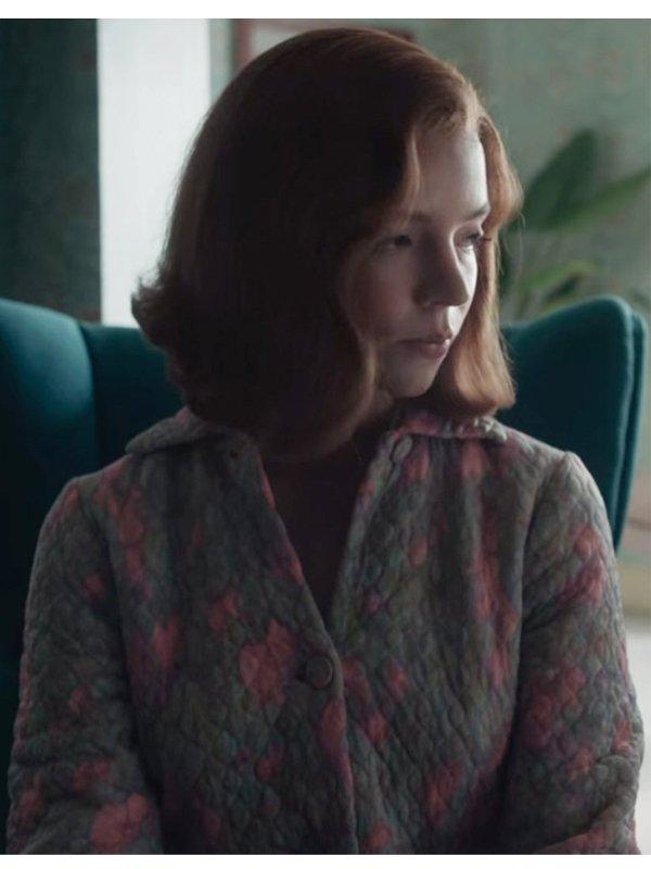 Beth Harmon The Queen's Gambit Quilted Coat