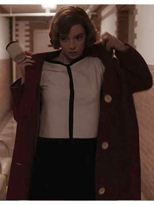 Beth Harmon The Queen's Gambit Red Long Coat