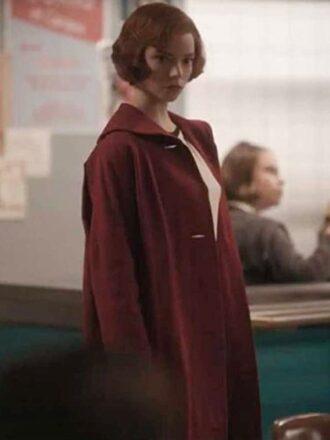 Beth Harmon The Queen's Gambit Red Trench Coat