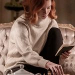 Beth Harmon The Queen's Gambit White Sweater