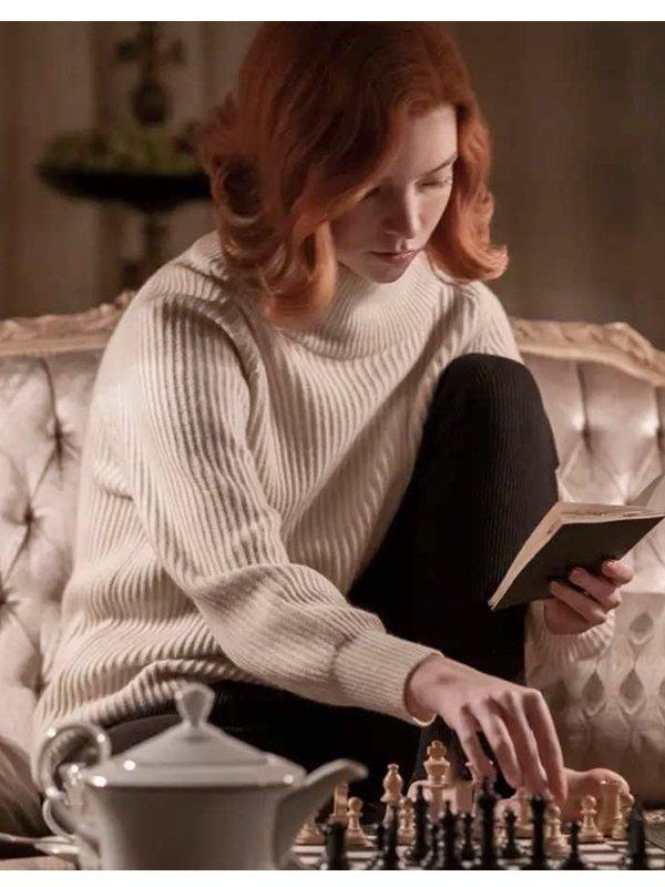 Beth Harmon The Queen's Gambit White Sweater