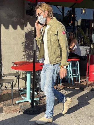 Brad Pitt Green Denim jacket