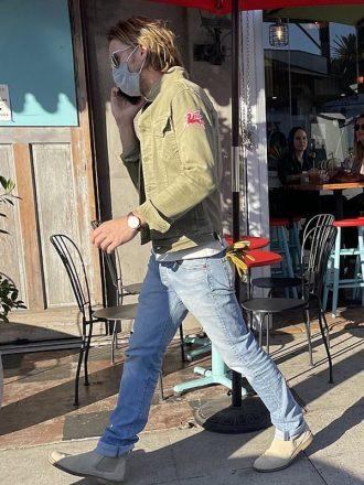 Brad Pitt Stylish Olive Green Denim jacket