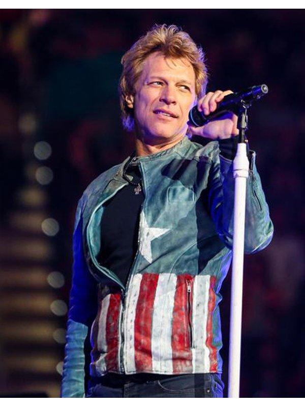 Captain America Jon Bon Jovi Concert Biker Jacket