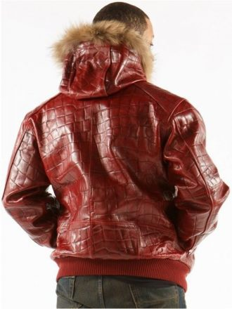 Crocodile Leather Red Hooded Jacket For Men's