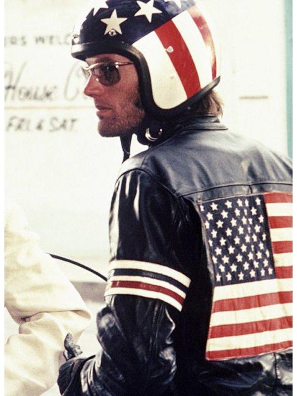 Easy Rider Captain America Black Leather Jacket