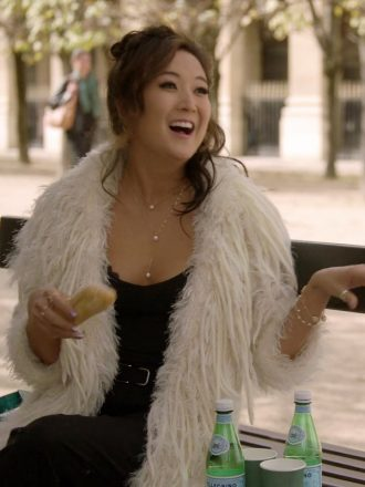Emily In Paris Mindy Chen Long White Fur Coat