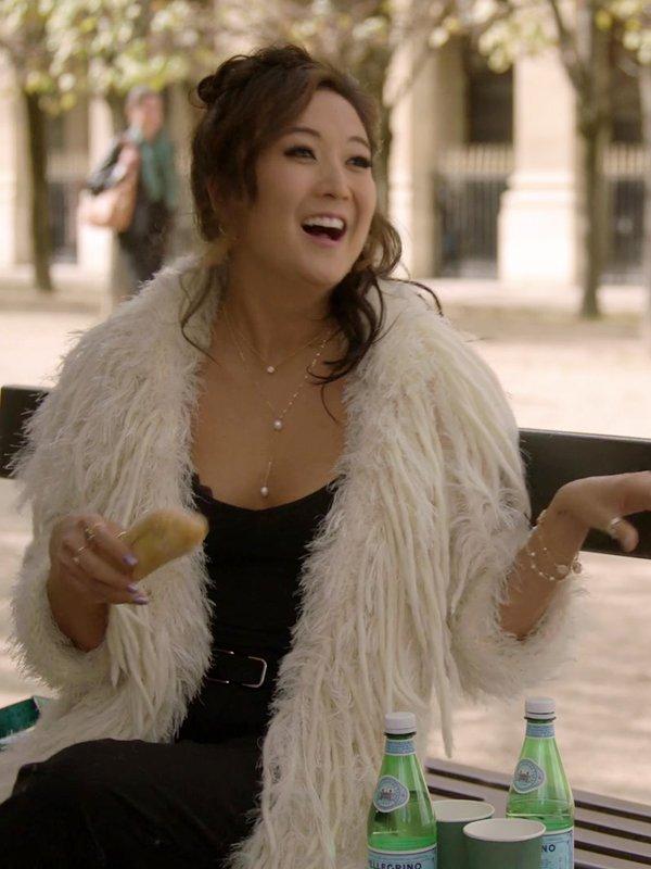 Emily In Paris Mindy Chen Long White Fur Coat