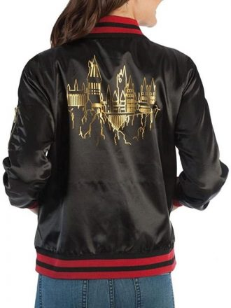 Harry Potter Hogwarts Juniors Black Bomber Jacket