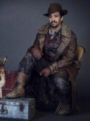 His Dark Materials Lin-Manuel Miranda Long Shearling Leather Coat
