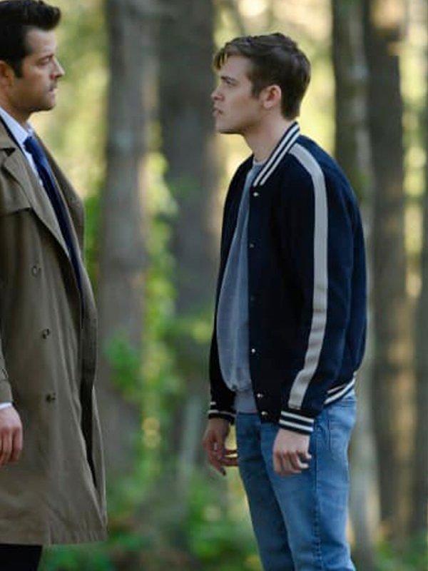 Jack Supernatural S15 Belphegor White Stipes Bomber Jacket