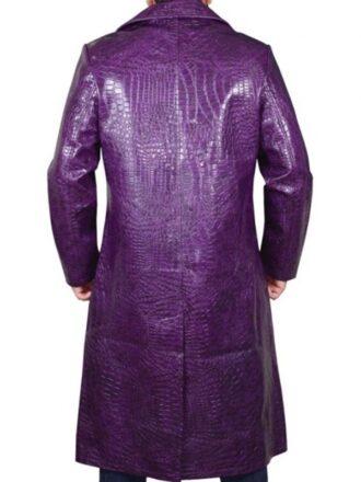 Jared Leto Suicide Squad Joker Purple Crocodile Leather Coat
