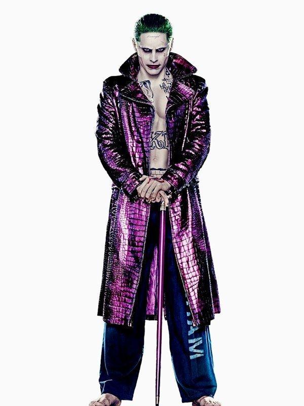 Jared Leto Suicide Squad Joker Purple Crocodile Trench Coat