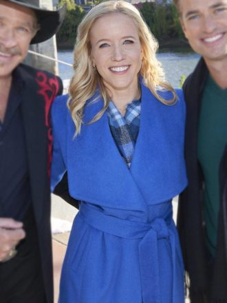 Jessy Schram A Nashville Christmas Carol Blue Wool Trench Coat