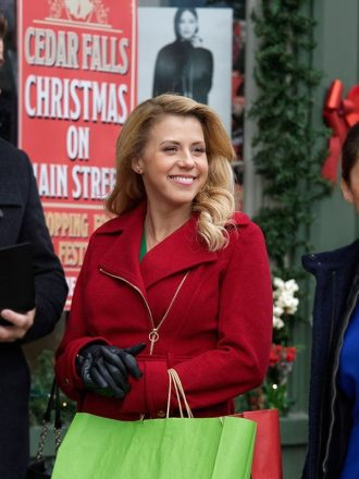 Jodie Sweetin Entertaining Christmas Red Wool Coat