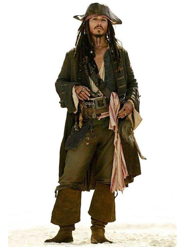 Johnny Depp Pirates of The Caribbean Brown Wool Coat